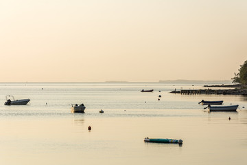Calm bay at the Baltic Sea in beautiful bronze morning light