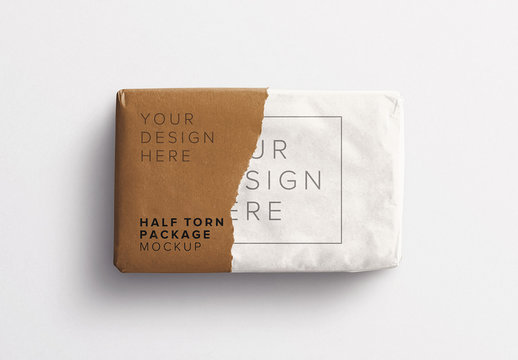 Gift with Half Torn Wrapping Mockup