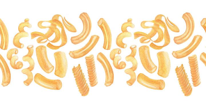 Watercolor frames and borders Italian pasta. Varieties of pasta