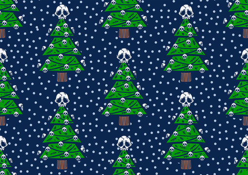 Seamless pattern christmas tree with skulls