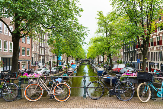 Bicycles on a bridge, Bloemgracht Canal, Amsterdam, North Holland, The Netherlands