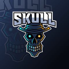 Black skull using hat mascot gaming esport logo template for squad club team