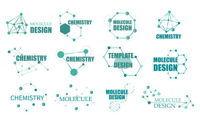 Molecule structure logo or biology