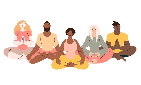 Flat style cartoon cute character, diverse group of people doing meditation in yoga pose. Healthcare, wellbeing, exercise, stress relief concept. Minimal vector illustration.