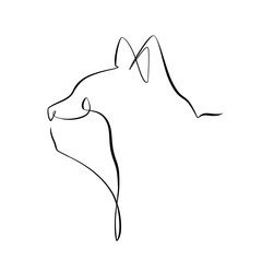 Foto auf AluDibond One Line Art Abstract, minimalistic, line art cat head figure. Hand drawn, one line, printable, wall art illustration.