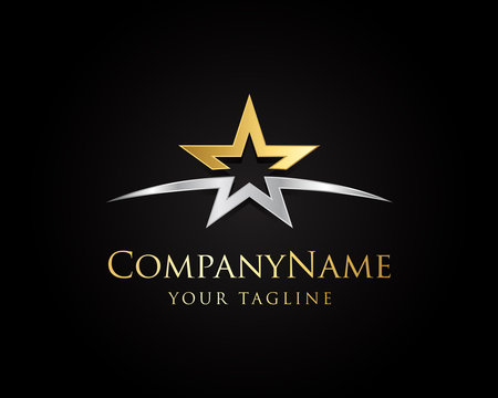 Gold And Silver Star Logo Designs Vector Template with Black Background
