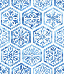 White and blue watercolor seamless pattern. Hexagonal tile drawn with a brush on paper. Print for textiles.