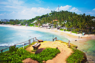 Vacation summer holidays background wallpaper - sunny tropical exotic Caribbean paradise beach with...