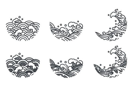 Oriental ocean wave line art vector illustration traditional style.