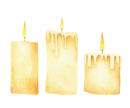 Set of burning candles. Watercolor illustration.