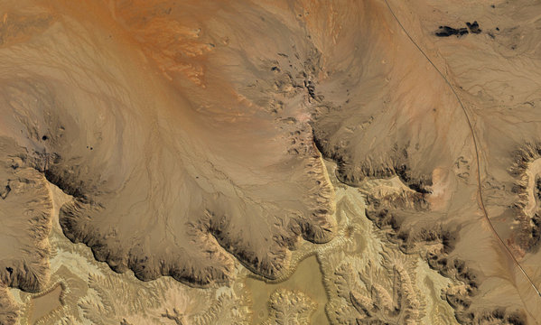 Desert terrain of Saudi Arabia from the height of the drone flight