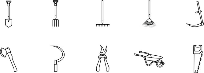 Set of linear vector icons of gardening tools - shovel, rake, sickle, scythe, saw, ax, wheelbarrow, secateurs, hayfork. Isolated elements on a transparent background.