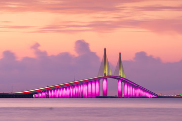 Poster Bruggen Sunshine Skyway Bridge spanning the Lower Tampa Bay