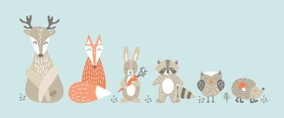 Set of cute cartoon woodland animals in scandinavian style. Funny characters on blue background. Flat vector illustartion.