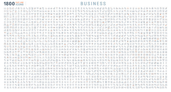 Collection Linear Icons of Business