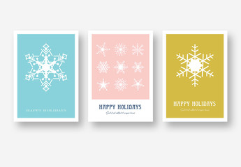 Holiday Card Layout Set with Snowflake Illustrations
