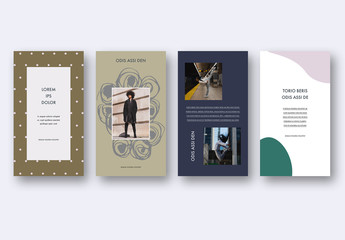 Social Media Story Layout Set with Abstract Design Elements