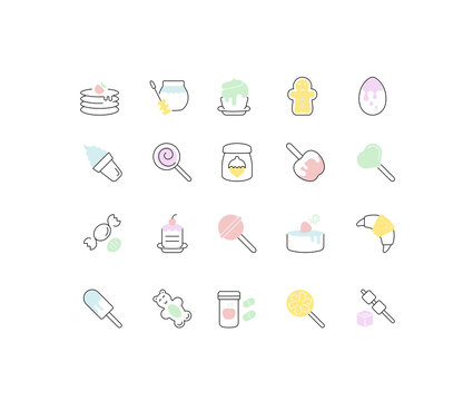 Set Vector Line Icons of Sweets