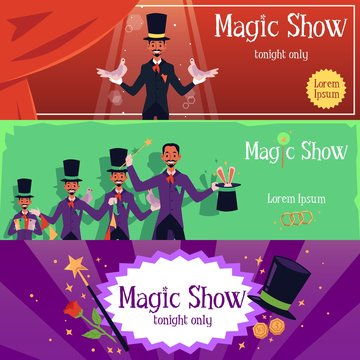 Magic show banner set with cartoon magician man in costume