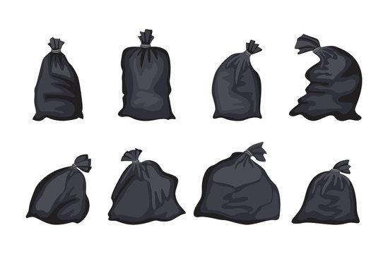 Black trash bag set isolated on white background - flat garbage disposal bags