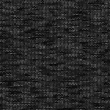 Black Grey Marl Knit Melange. Heathered Texture Background. Faux Knitted Fabric with Vertical T Shirt Style. Seamless Vector Pattern. Light Gray Space Dye for Textile Effect. Vector EPS 10 Tile Repeat