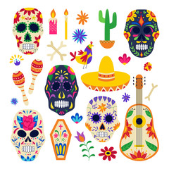 Day of the dead symbol set - painted sugar skull, sombrero, floral ornaments