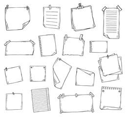 Obraz Paper page doodle set in hand drawn line art sketch style - fototapety do salonu
