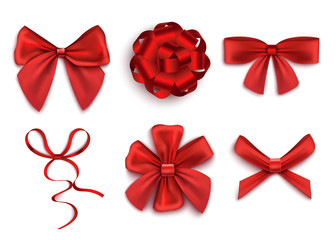 Set of red gift bows in various shapes realistic vector illustration isolated.