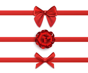 Set of red satin ribbons with various bows 3d vector illustration isolated.