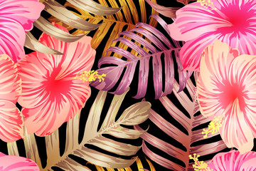 Pink red exotic pattern.
