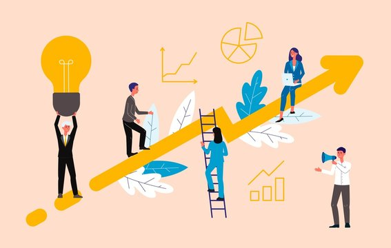 Business coaching concept with people on rising arrow, flat vector illustration.