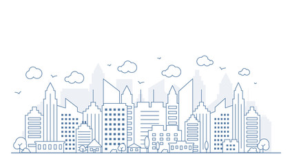 Thin line style city panorama. Illustration of urban landscape street with cars, skyline city office buildings, on light background. Outline cityscape. Vector illustration Fototapete