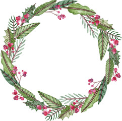 Watercolor Christmas and New Year wreath - fir tree, mistletoe and berries. Round green winter frame.