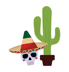 cactus and skull with hat mexican isolated icon