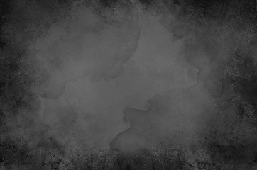 Fototapete - Black watercolor background with vintage paint bleed texture, distressed old textured luxury painted paper design