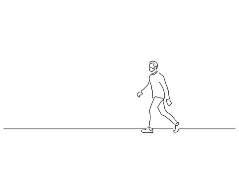 Man walking isolated line drawing, vector illustration design. Urban life collection.