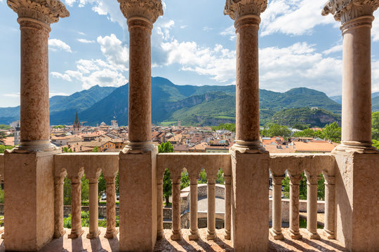 TRENTO, ITALY - JULY 19, 2019 - The Buonconsiglio Castle is the most important castle in Trentino. Loggia Veneziana and a view of the historical centre