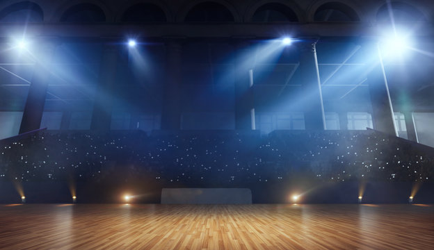 3-D arena for ballroom dancing. Render 3-d.