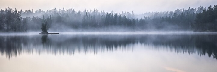 Aluminium Prints Autumn Panoramic shot of the sea reflecting the trees on the shore with a foggy background