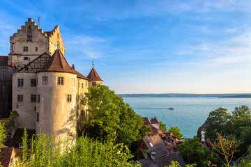 Fototapete - Meersburg Castle at Lake Constance or Bodensee, Germany. This medieval castle is landmark of Meersburg town. Scenic view of old German castle in summer. Nice Swabian landscape in sunset light.