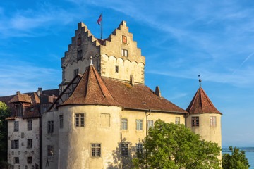 Fototapete - Meersburg Castle at Lake Constance or Bodensee, Germany. This medieval castle is landmark of town. Closeup view to old German castle in summer. Scenery of famous tourist attraction in Swabia.