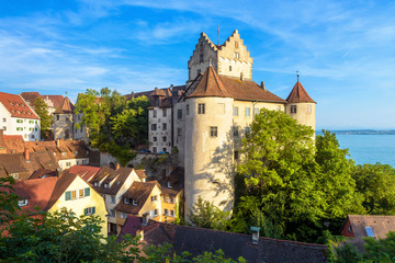 Fototapete - Meersburg Castle at Lake Constance or Bodensee, Germany. This medieval castle is landmark of Meersburg town. Scenic view of old German castle in summer. Scenery of tourist place in Baden-Wurttemberg.
