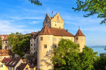 Fototapete - Meersburg Castle at Lake Constance or Bodensee, Germany. This old castle is landmark of Meersburg town. Scenic view of medieval German castle in summer. Scenery of Swabian tourist attraction.