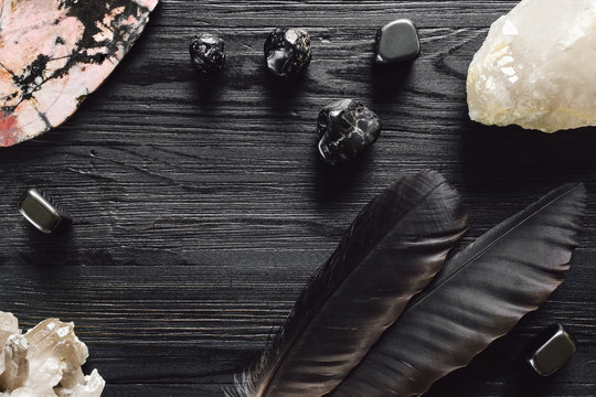 Crystals and Feathers on Black Stained Wood