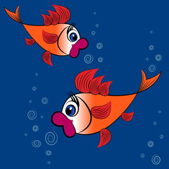Children's illustration, design, pattern - a pair of surprised goldfish with big red lips and huge eyes on a background of blue water and bubbles