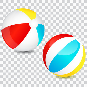 Colorful beach ball set, isolated, vector illustration.