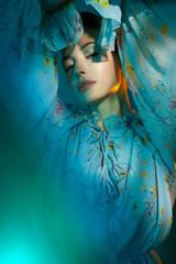 Poster womenART Beautiful lady in blue chiffon dress