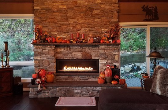 Cozy, Large, Flames-A-Glow Stone Fireplace in a Rustic Theme Lodge Home, Fall Holidays, Daytime Warmth in Winter, Top Notch Masonry