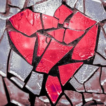broken glass heart mosaic
