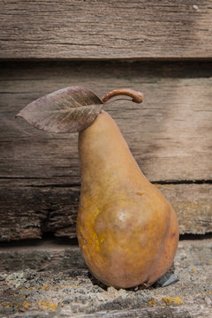 golden pear on wooden background